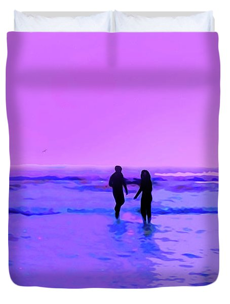 Romance On The Beach Duvet Cover