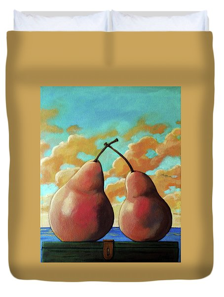 Duvet Cover featuring the painting Romantic Pear by Linda Apple