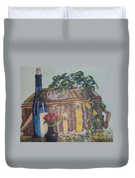 Duvet Cover featuring the painting Romantic Picnic by Saundra Johnson