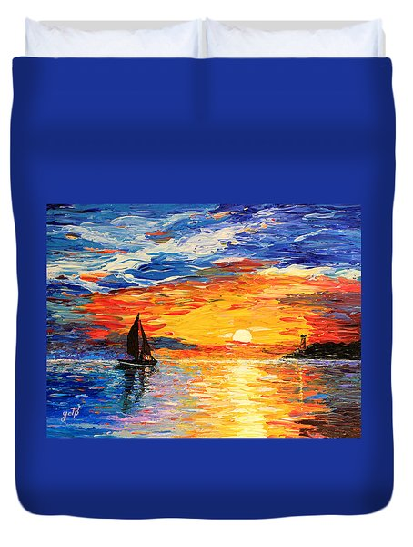 Duvet Cover featuring the painting Romantic Sea Sunset by Georgeta  Blanaru