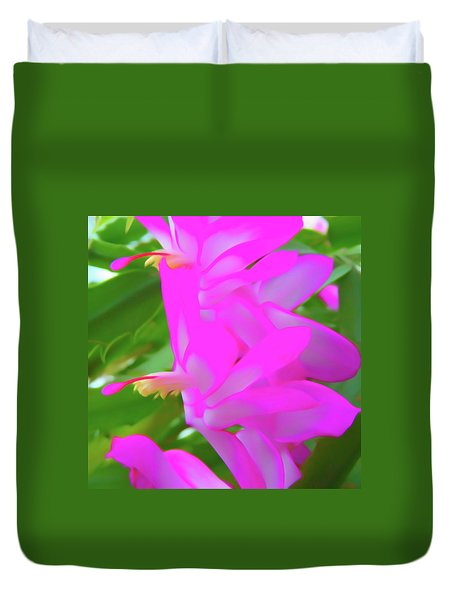 Duvet Cover featuring the photograph Romantic Skies Christmas Cactus Flower by Aimee L Maher Photography and Art Visit ALMGallerydotcom