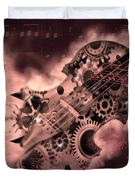 Romantic Stemapunk Violin Music Duvet Cover