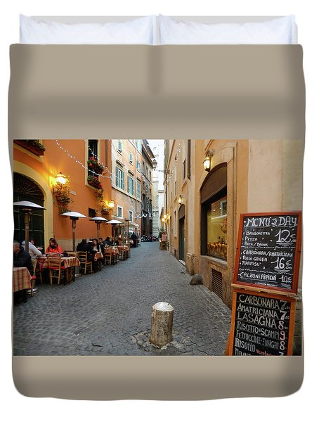 Romantic Streetside Cafe Duvet Cover