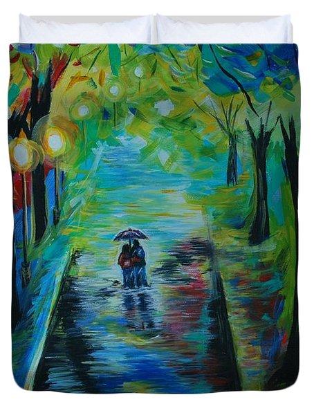 Romantic Stroll Duvet Cover by Leslie Allen