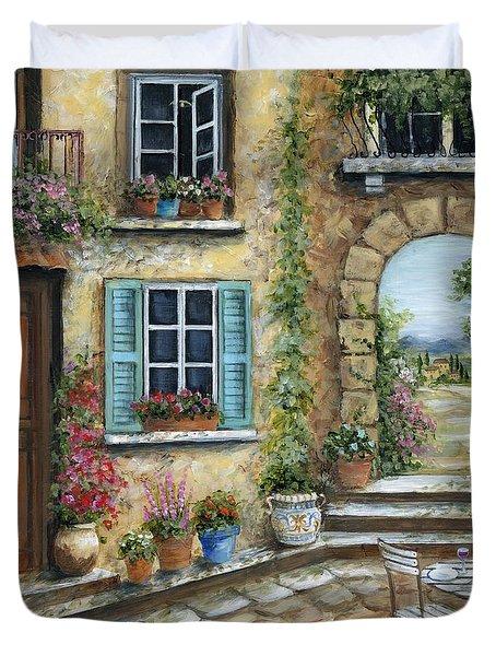 Romantic Tuscan Courtyard II Duvet Cover