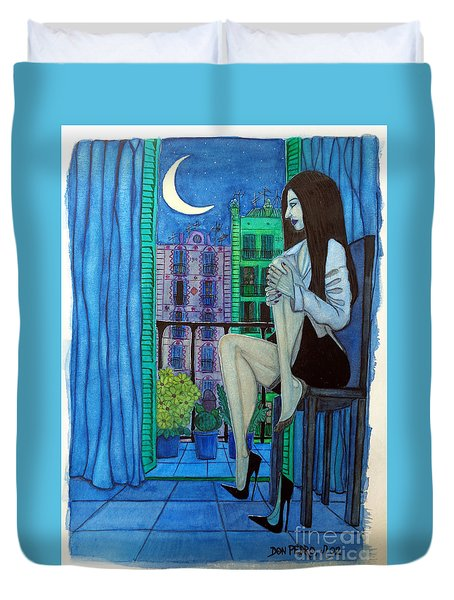 Duvet Cover featuring the painting Romantic Woman At Balcony by Don Pedro De Gracia