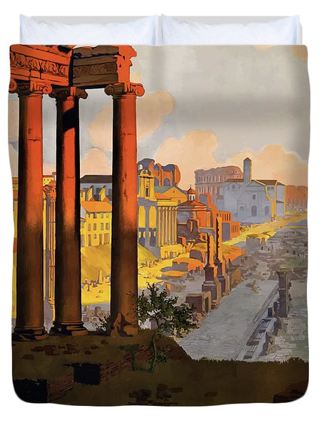 Rome, Ancient Ruins, Railway Duvet Cover