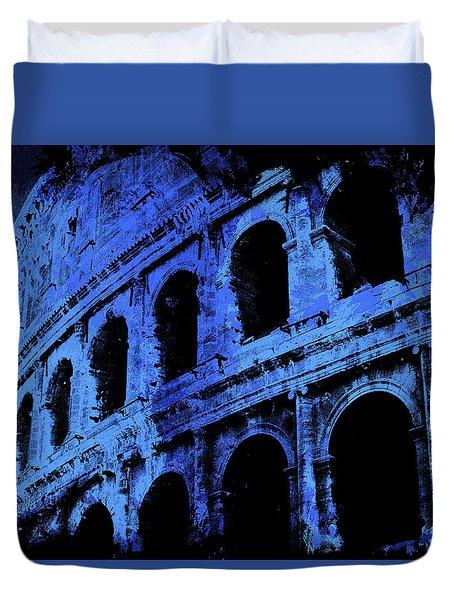 Rome - Colosseum In Blue Duvet Cover by Andrea Mazzocchetti