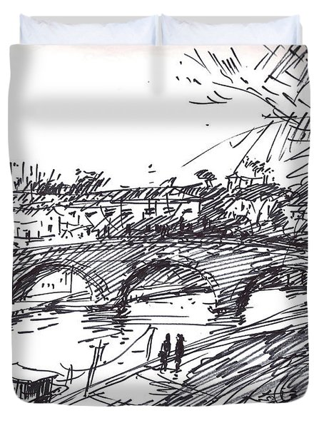 Bridge At Isola Tiberina Rome Sketch Duvet Cover