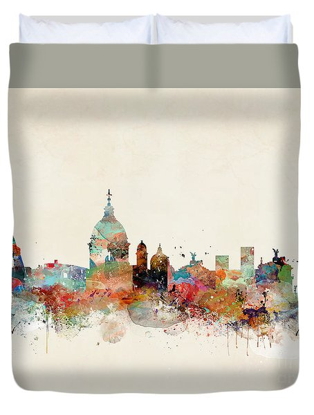 Duvet Cover featuring the painting Rome Italy Skyline by Bri B