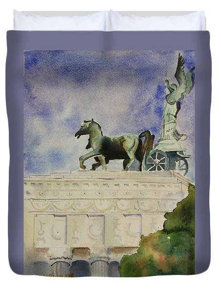 Duvet Cover featuring the painting Rome Souvenir by Geeta Biswas
