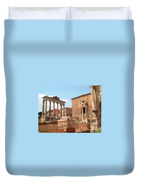 Rome The Eternal City And Temples Duvet Cover