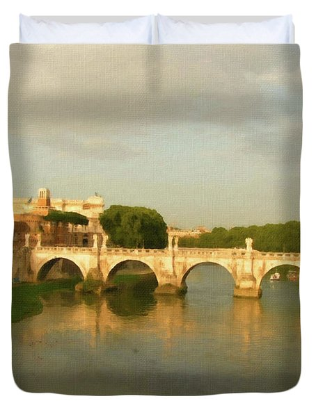 Rome The Eternal City And Tiber River Duvet Cover