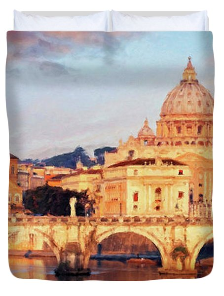 Rome The Eternal City - Saint Peter From The Tiber Duvet Cover