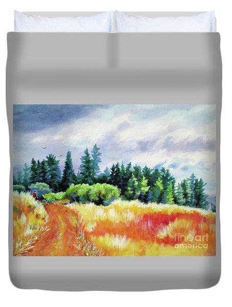Duvet Cover featuring the painting Romp On The Hill by Kathy Braud