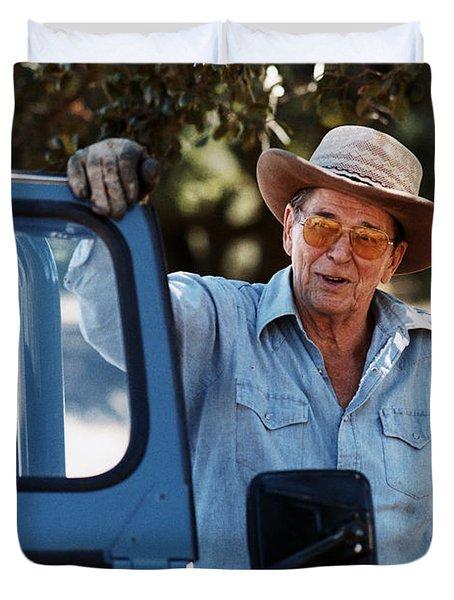 Ronald Reagan At Rancho Del Cielo - 1985 Duvet Cover