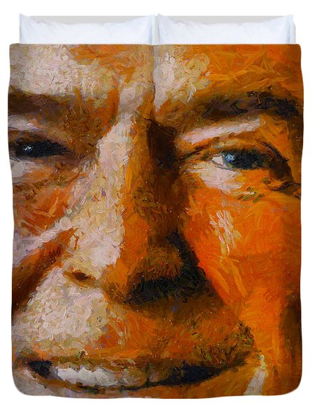 Duvet Cover featuring the painting Ronald Reagan by Kai Saarto