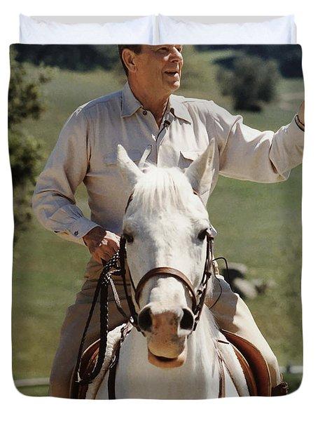 Ronald Reagan On Horseback  Duvet Cover