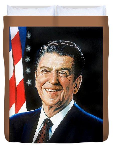 Ronald Reagan Portrait Duvet Cover by Robert Korhonen