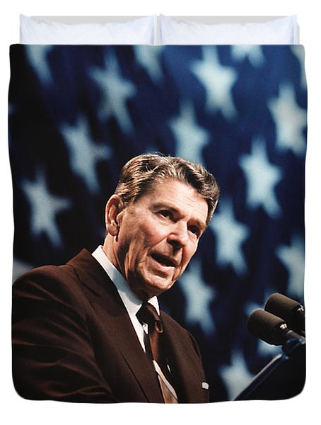 Ronald Reagan Speaking At Congressional Rally - 1986 Duvet Cover