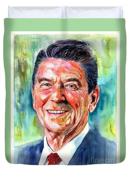 Ronald Reagan Watercolor Duvet Cover