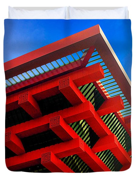 Roof Corner - Expo China Pavilion Shanghai Duvet Cover by Christine Till