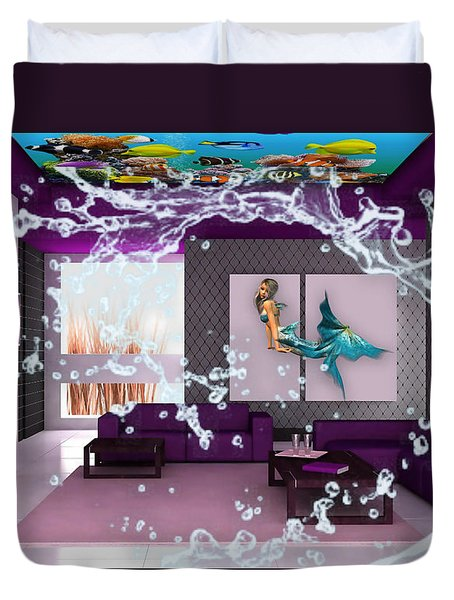 Rooftop Saltwater Fish Tank Art Duvet Cover by Marvin Blaine