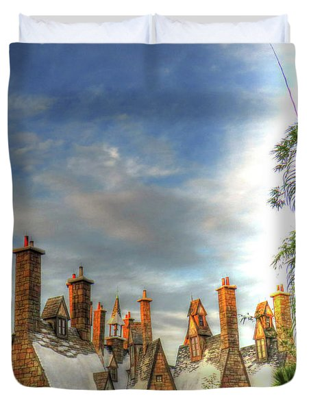Duvet Cover featuring the photograph rooftops Hogsmeade by Tom Prendergast