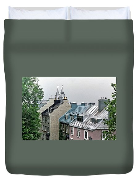 Duvet Cover featuring the photograph Rooftops by John Schneider