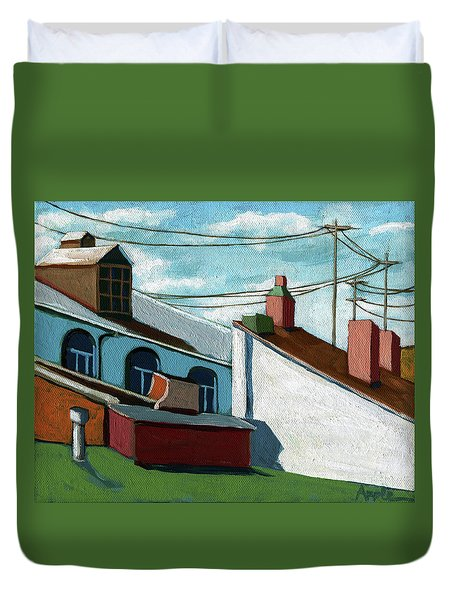 Duvet Cover featuring the painting Rooftops by Linda Apple