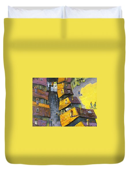 Duvet Cover featuring the painting Rooftops by Mikhail Zarovny