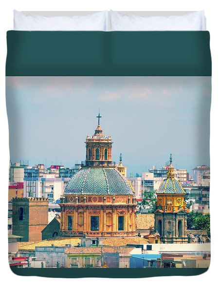Duvet Cover featuring the photograph Rooftops Of Seville - 1 by Mary Machare
