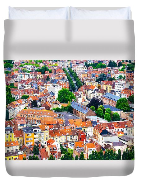 Duvet Cover featuring the photograph Rooftops by Pravine Chester