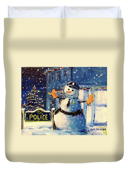 Rookie Working Christmas Eve Duvet Cover by Jack Skinner