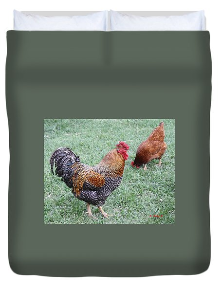 Rooster And Hen Duvet Cover by Roena King