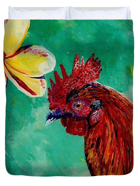 Rooster And Plumeria Duvet Cover by Marionette Taboniar