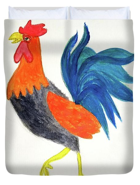 Duvet Cover featuring the painting Rooster Awakens Us by Margaret Welsh Willowsilk