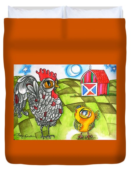 Rooster Coburn And The Chick Duvet Cover