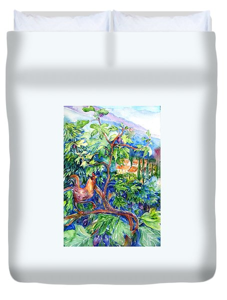 Rooster In A Fig Tree, Tuscany   Duvet Cover by Trudi Doyle
