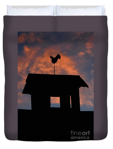 Rooster Weather Vane Silhouette Duvet Cover