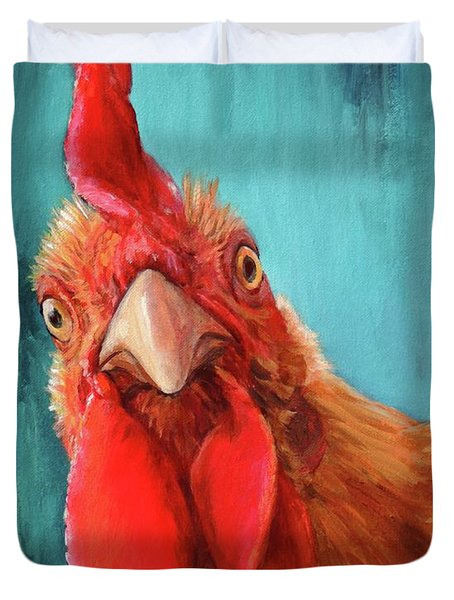Rooster With Attitude Duvet Cover