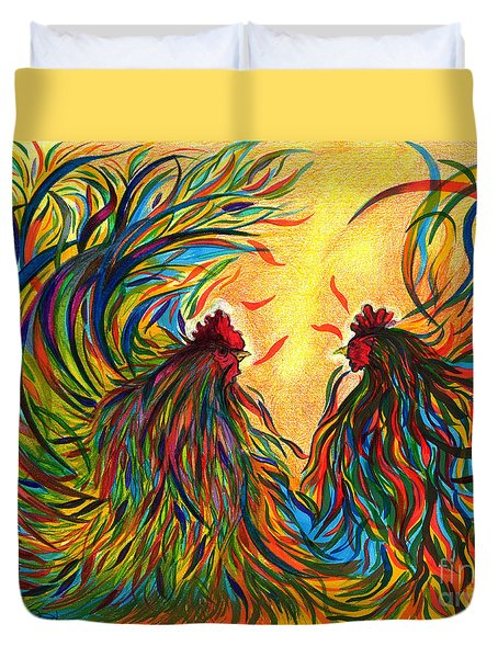 Roosters Frienship Duvet Cover by Fanny Diaz
