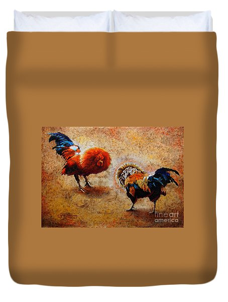 Roosters  Scene Duvet Cover