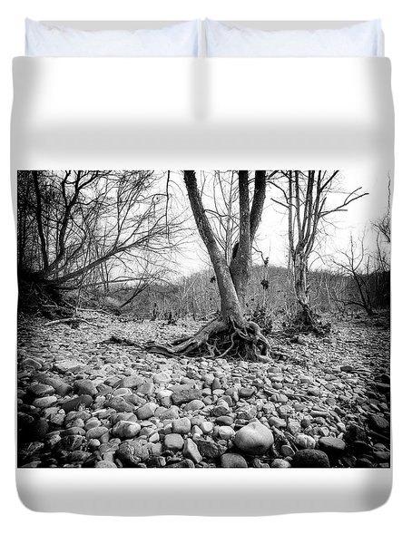 Duvet Cover featuring the photograph Roots And Stones by Alan Raasch
