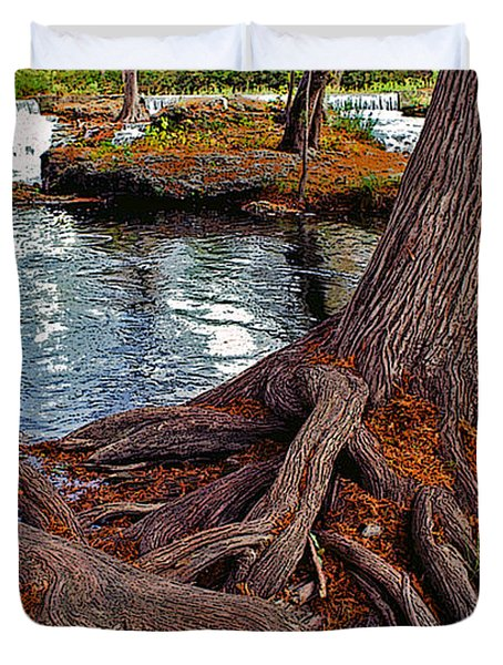 Roots On The River Duvet Cover by Stephen Anderson