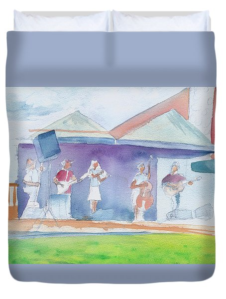 Duvet Cover featuring the painting Roots Retreat Bluegrass by David Sockrider