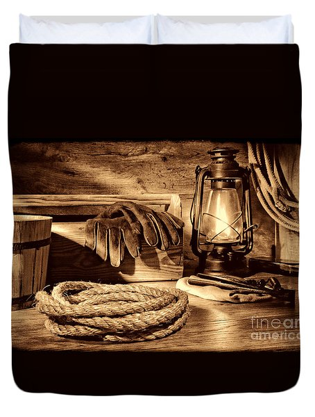 Rope And Tools In A Barn Duvet Cover