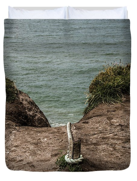 Duvet Cover featuring the photograph Rope Ladder To The Sea by Odd Jeppesen