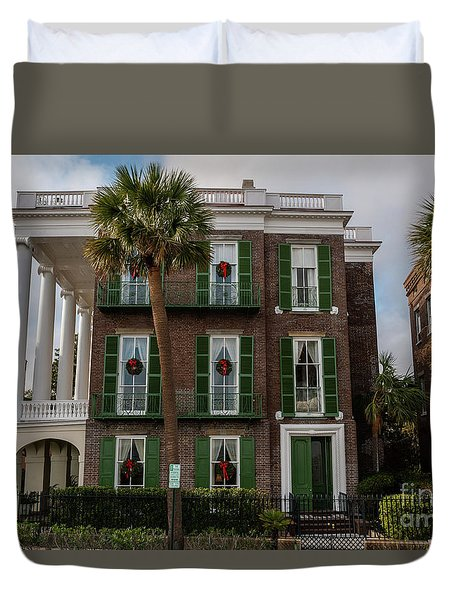 Roper Mansion In December Duvet Cover