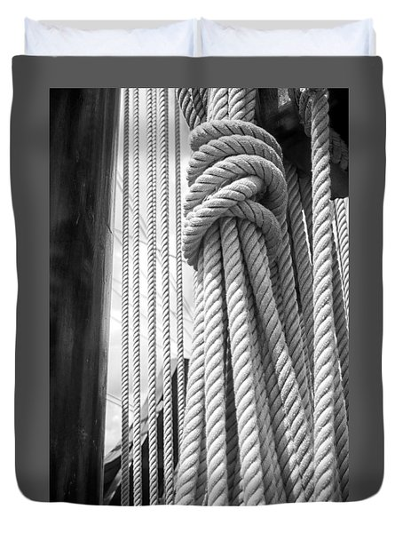 Duvet Cover featuring the photograph Ropes From The Past by Bob Decker